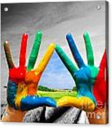 Painted Colorful Hands Showing Way To Colorful Happy Life Acrylic Print