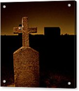 Painted Cross In Graveyard Acrylic Print