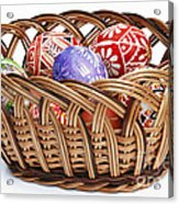 painted Easter Eggs in wicker basket Acrylic Print