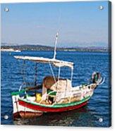 Painted Fishing Boat In Corfu Greece Acrylic Print