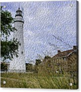 Painted Fort Gratiot Light House Acrylic Print