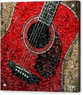 Painted Guitar - Music - Red Acrylic Print