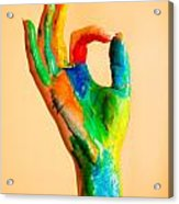 Painted Hand With Ok Sign Acrylic Print