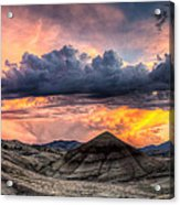 Painted Hills In Oregon Panorama At Sunset Acrylic Print