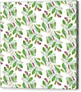 Painted Nature Coorsinating Foliage Leaves Pattern Acrylic Print