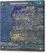 Painted Sign On A Brick Wall Acrylic Print