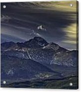 Painted Sky Over Longs Peak Acrylic Print by Tom Wilbert