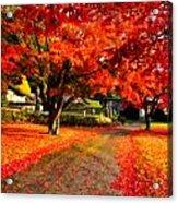 Painterly Autumn Path Acrylic Print