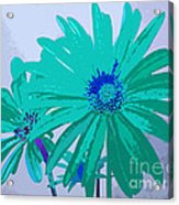 Painterly Flowers In Teal And Blue Pop Art Abstract Acrylic Print