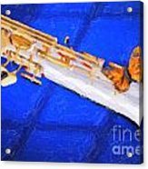 Painting Of A Soprano Saxophone And Butterfly 3352.02 Acrylic Print