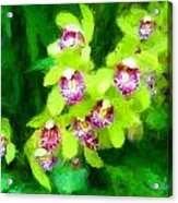 Painting Of Green Orchids Acrylic Print