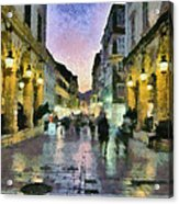 Old City Of Corfu During Dusk Time Acrylic Print