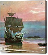 Painting Of The Ship The Mayflower 1620 Acrylic Print