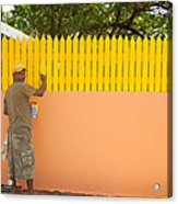 Painting The Fence Acrylic Print