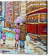 Paintings Of Fifties Montreal-downtown Streetcar-vintage Montreal Scene Acrylic Print