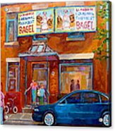 Paintings Of Montreal Fairmount Bagel Shop Acrylic Print by Carole Spandau