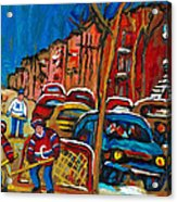 Paintings Of Montreal Hockey City Scenes Acrylic Print