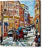 Paintings Of Old Port Quebec Vieux Montreal Memories Rue Notre Dame Snowscenes Art Carole Spandau Acrylic Print