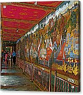Paintings On Wall Of Middle Court Hallof Grand Palace Of Thailand Acrylic Print