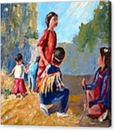 Paiute Indian Children Playing At The Powwow Acrylic Print