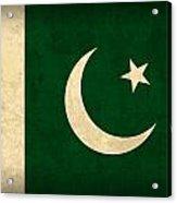 Pakistan Flag Vintage Distressed Finish Acrylic Print by Design Turnpike