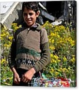 Pakistani Boy In Front Of Hotel Ruins In Swat Valley Acrylic Print