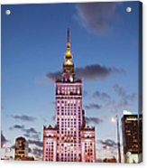Palace Of Culture And Science At Dusk In Warsaw Acrylic Print