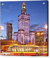 Palace Of Culture And Science In Warsaw At Dusk Acrylic Print by Artur Bogacki