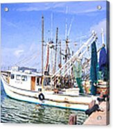 Palacios Texas Shrimp Boat Lineup Acrylic Print