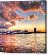 Palm Beach Harbor With West Palm Beach Skyline Acrylic Print by Debra and Dave Vanderlaan