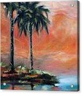 Palm Refection Sunset Acrylic Print