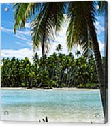 Palm Trees On The Beach, Rangiroa Acrylic Print