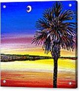 Palmetto Sunset Moon And Stars Acrylic Print