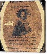 Pancho Villa Wanted Poster #1 For Raid On Columbus New Mexico 1916-2013 Acrylic Print