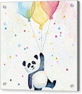 Panda Floating With Balloons Acrylic Print