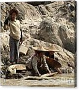 Panning For Gold Mekong River 2 Acrylic Print