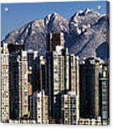 Pano Vancouver Snowy Skyline Acrylic Print by David Smith