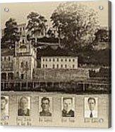 Panorama Alcatraz Infamous Inmates Sepia Acrylic Print