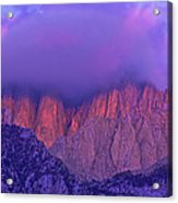 Panorama Alpenglow On Mount Whitney Eastern Sierras California Acrylic Print