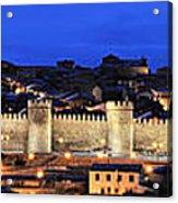 Panorama Avila Spain Wall At Night Acrylic Print