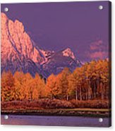 Panorama Dawn Lights Up Mount Moran In Grand Tetons National Park Acrylic Print
