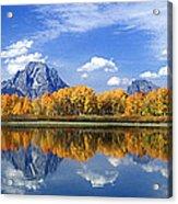 Panorama Fall Morning At Oxbow Bend Grand Tetons National Park Acrylic Print