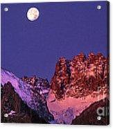 Panorama Moonset Middle Palisades Glacier Eastern Sierras California Acrylic Print