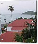 Panorama Of Charlotte Amalie Bay Acrylic Print by Russell Windle