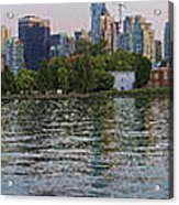 Panorama Of Coal Harbour And Vancouver Skyline At Dusk Acrylic Print