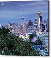 Panorama Of Downtown Seattle And Space Needle From Kerry Park At Dusk - Seattle Washington State Acrylic Print