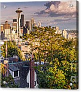 Panorama Of Downtown Seattle And Space Needle From Kerry Park - Seattle Washington State Acrylic Print