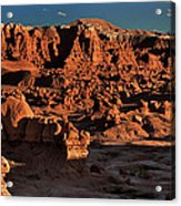 Panorama Of Hoodoos At Sunset Goblin Valley State Park Utah Acrylic Print