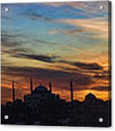 Panorama Of Istanbul Sunset- Call To Prayer Acrylic Print by David Smith