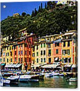 Panorama Of Portofino Harbour Italian Riviera Acrylic Print by David Smith